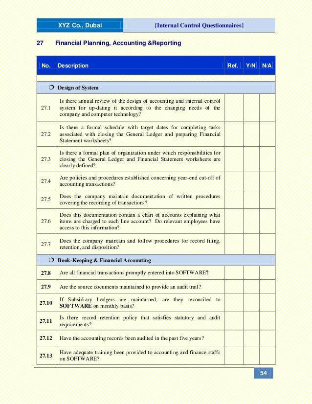 Internal Control Questionnaires (ICQs)