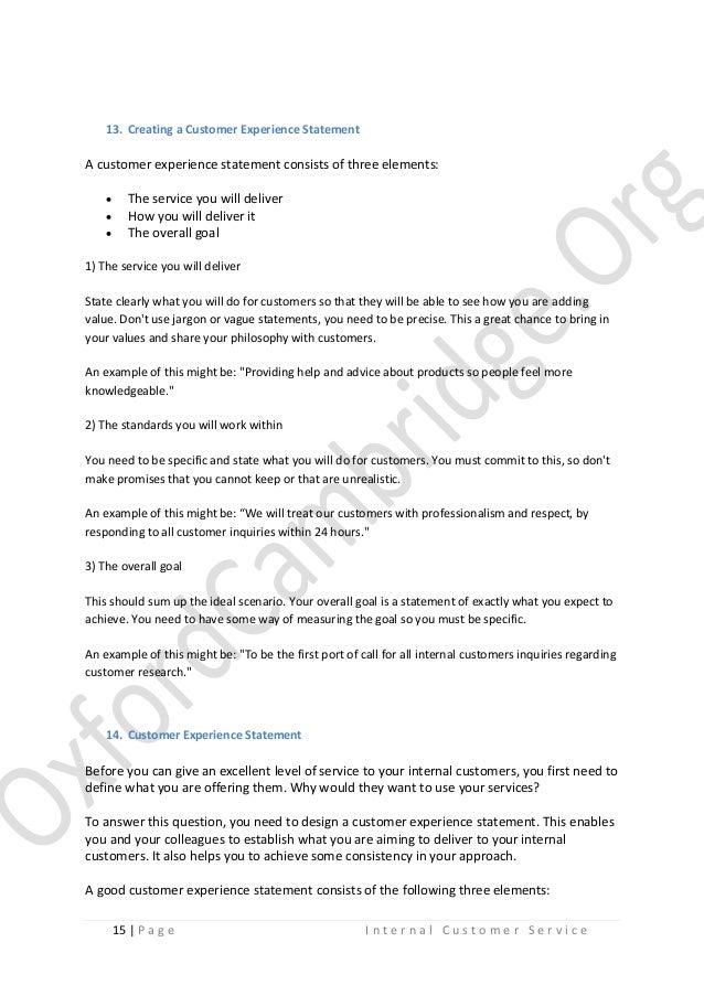 Internal Customer Service Study Notes