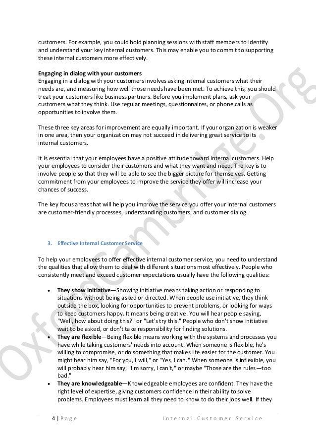 Internal Customer Service - Study Notes
