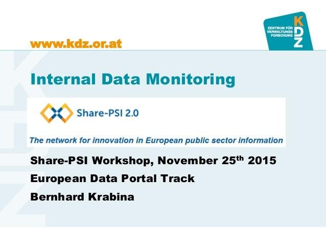 www.kdz.or.at Internal Data Monitoring Share-PSI Workshop, November 25th 2015 European Data Portal Track Bernhard Krabina