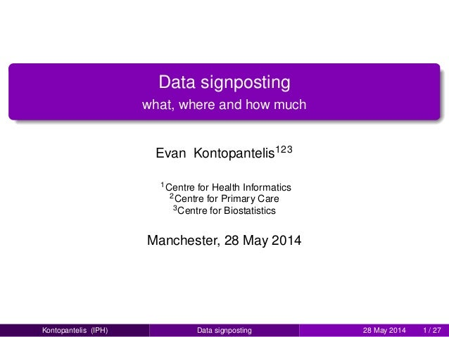 Data signposting what, where and how much Evan Kontopantelis123 1Centre for Health Informatics 2Centre for Primary Care 3C...