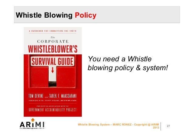 whistle blowing presentation Whistleblower policy the whistleblower is not responsible for investigating the osha continues to turn up the volume on whistle-blowing.