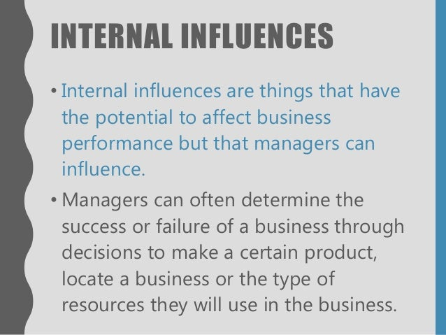 internal influences in the business environment