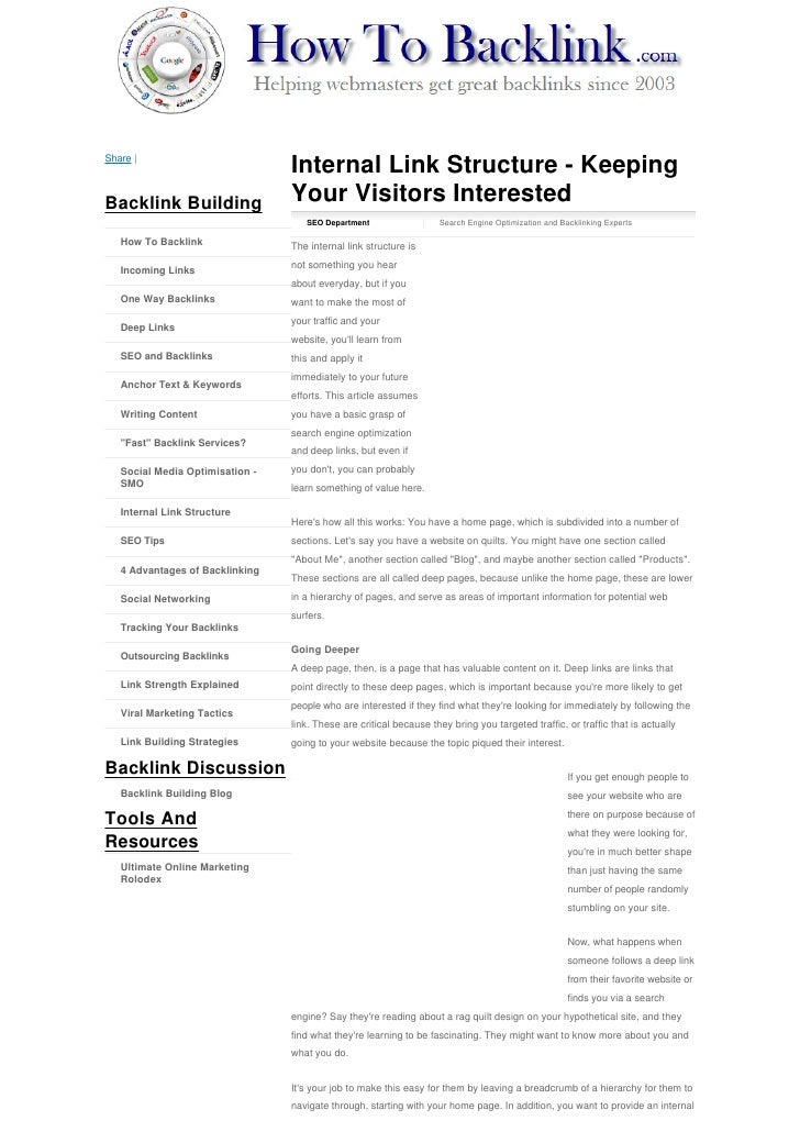 Share |                                  Internal Link Structure - Keeping Backlink Building                Your Visitors ...