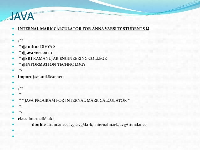 Internal mark calculator