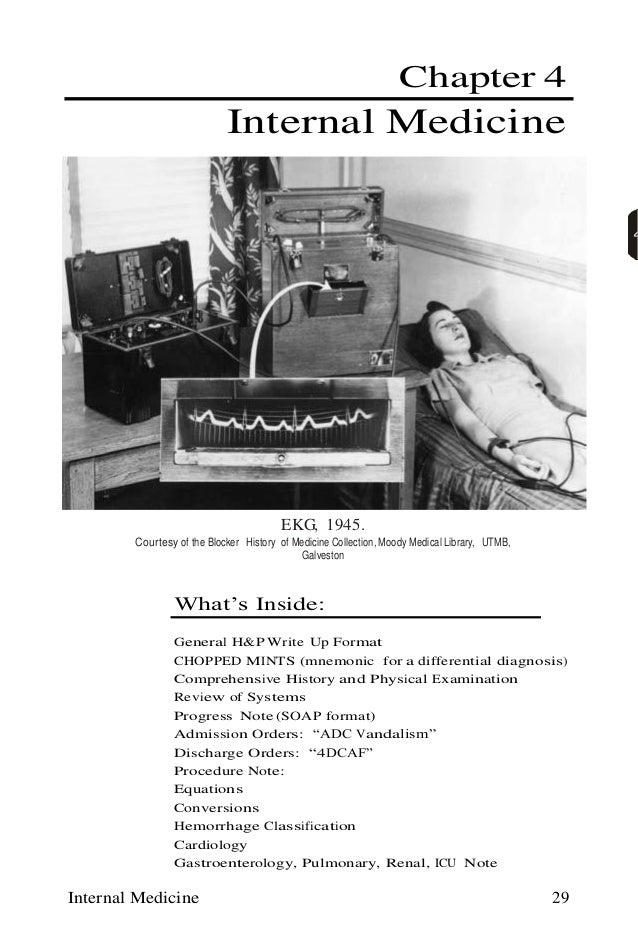 Internal Medicine 29 Chapter 4 Internal Medicine EKG, 1945. Courtesy of the Blocker History of Medicine Collection, Moody ...