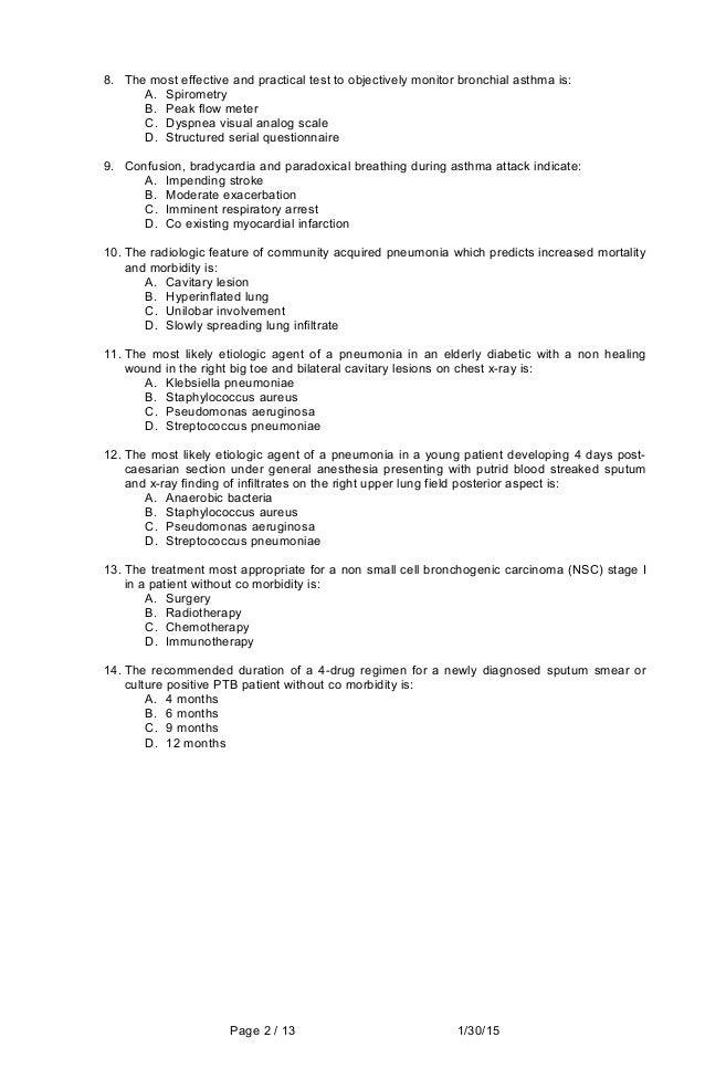 Internal Medicine Sample Questions