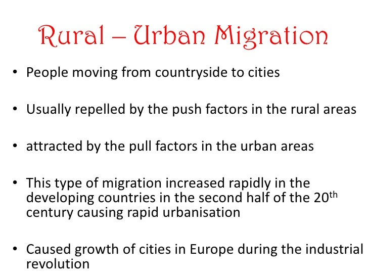 migration city and rural areas essay This can occur on a variety of scales, domestic migration involves the movement  of people from rural areas to urban areas, whereas international migration is the .