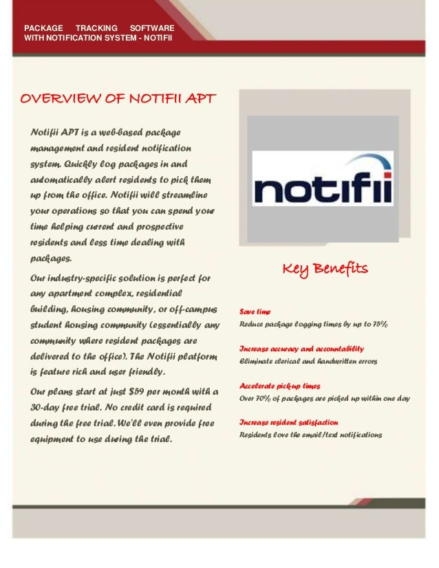 OVERVIEW OF NOTIFII APT PACKAGE TRACKING SOFTWARE WITH NOTIFICATION SYSTEM - NOTIFII Notifii APT is a web-based package ma...
