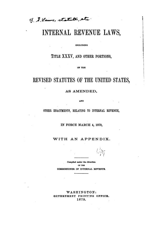 Internal revenue codes of 1879