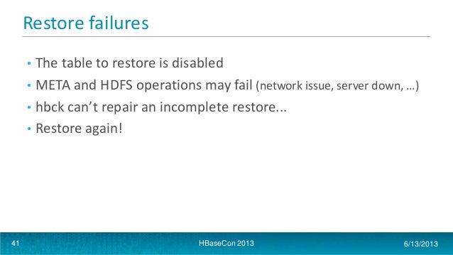 Hbasecon 2013 apache hbase table snapshots - Rebuild file allocation table ...