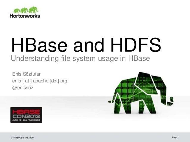 © Hortonworks Inc. 2011 HBase and HDFSUnderstanding file system usage in HBase Enis Söztutar enis [ at ] apache [dot] org ...