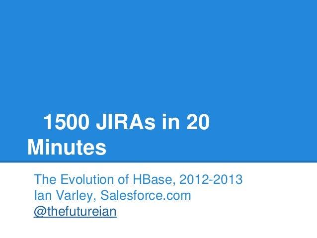 1500 JIRAs in 20 Minutes The Evolution of HBase, 2012-2013 Ian Varley, Salesforce.com @thefutureian