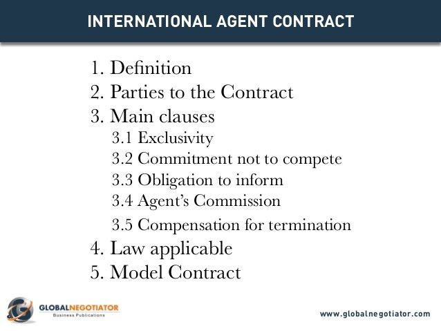 INTERNATIONAL AGENT CONTRACT 1. Definition 2. Parties To The Contract 3.