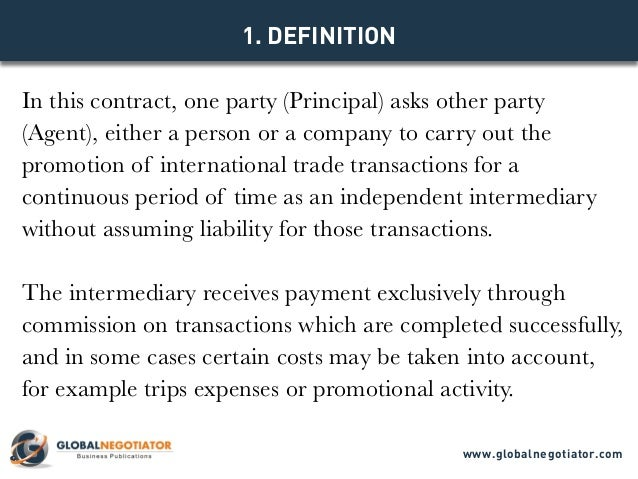 INTERNATIONAL AGENT CONTRACT Contract Template and Sample – Trading Agreement Template
