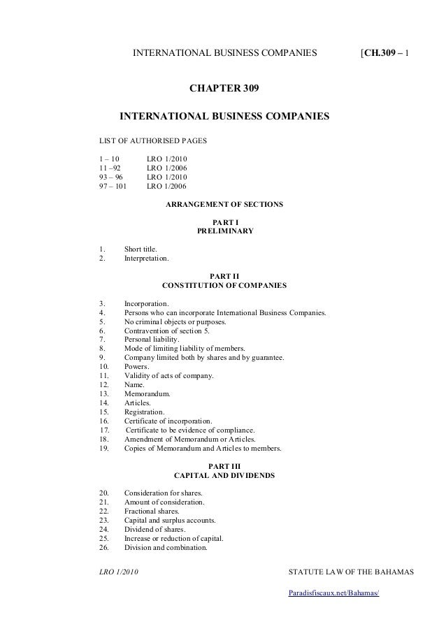 INTERNATIONAL BUSINESS COMPANIES [CH.309 – 1 CHAPTER 309 INTERNATIONAL BUSINESS COMPANIES LIST OF AUTHORISED PAGES 1 – 10 ...