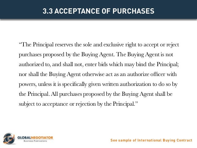 INTERNATIONAL BUYING AGENT CONTRACT - Contract Template and Sample