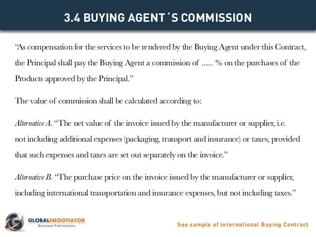 INTERNATIONAL BUYING AGENT CONTRACT Contract Template and Sample – Agent Contract Agreement