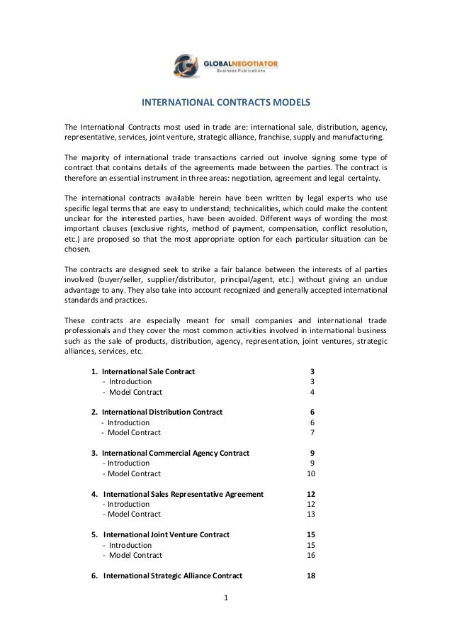 1 INTERNATIONAL CONTRACTS MODELS The International Contracts Most Used In  Trade Are: International Sale, ...