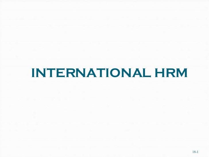 INTERNATIONAL HRM 18-