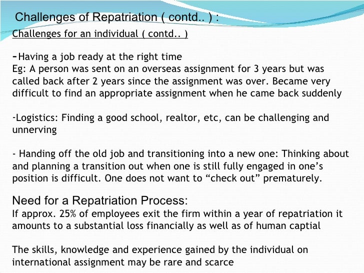 repatriation process human resource management