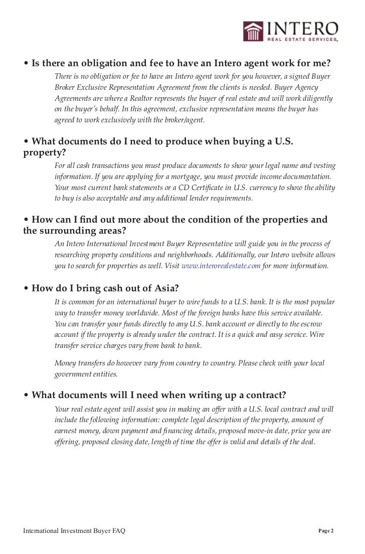 International Investment In U S Property F A Q Wiring Money To Escrow Account Buyer Faq Page 1 4