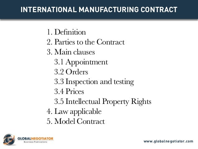 INTERNATIONAL MANUFACTURING CONTRACT - Contract Template and Sample