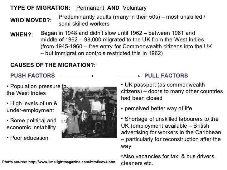 caribbean immigration to britain 1945 1960 The new commonwealth migrants 1945-62  the war was a major factor stimulating migration in britain the mobilisation of people in the armed forces, the expansion .