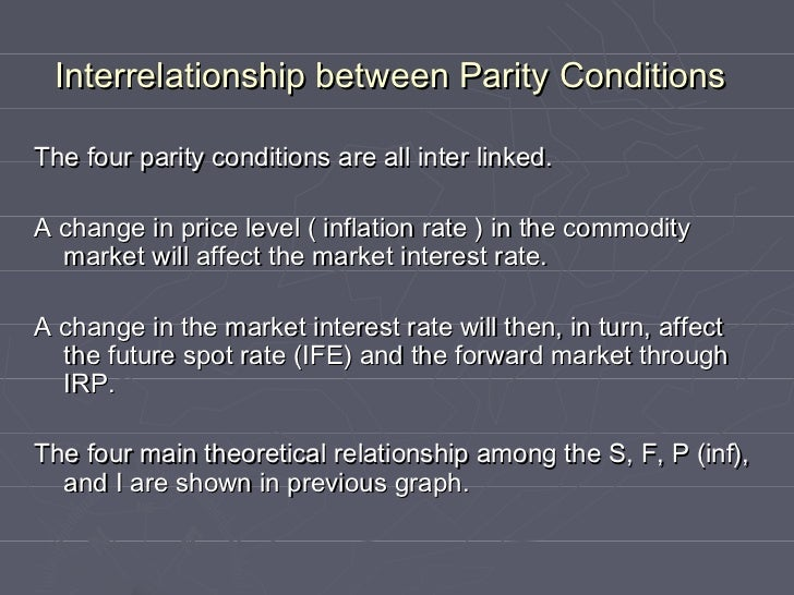 the forward parity condition We hypothesize that deviations from parity conditions in international bond international parity conditions and market in the forward market to hedge the.