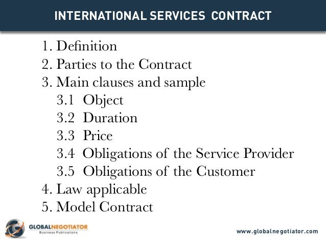 INTERNATIONAL SERVICES CONTRACT Contract Template And Sample