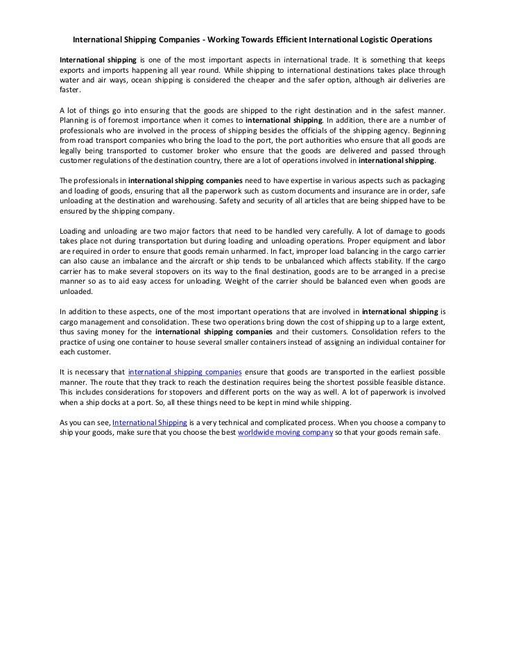 International Shipping Companies - Working Towards Efficient International Logistic OperationsInternational shipping is on...
