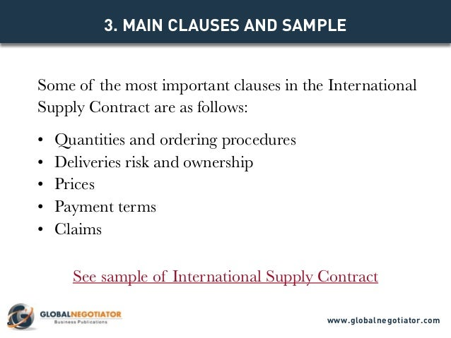 International Supply Contract  Contract Template And Sample