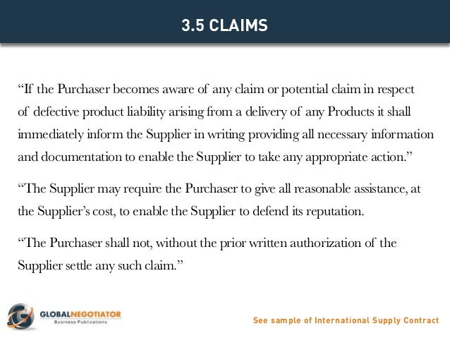 INTERNATIONAL SUPPLY CONTRACT Contract Template and Sample – Supplier Contract Template