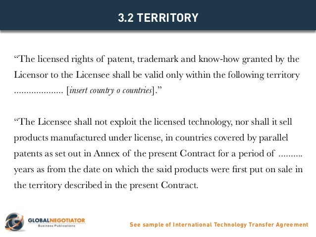 INTERNATIONAL TECHNOLOGY TRANSFER AGREEMENT - Contract Template and S…