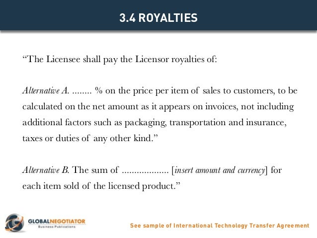 INTERNATIONAL TECHNOLOGY TRANSFER AGREEMENT Contract