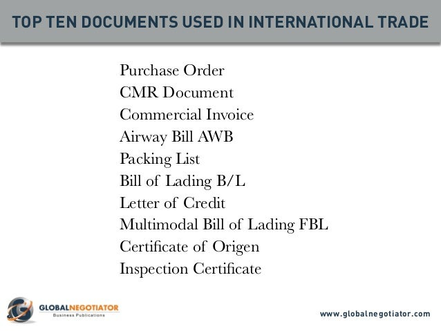 international trade documents International trade is the exchange of capital, goods, and services across international borders or territories in most countries, such trade represents a.
