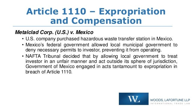 legal analysis of indirect expropriation claim It is no surprise that establishing a successful claim of indirect expropriation requires extensive analysis of the circumstances of each particular case in ruling on indirect expropriation, a tribunal is expected to carefully balance important public policy considerations with private interests vital to a particular investor.