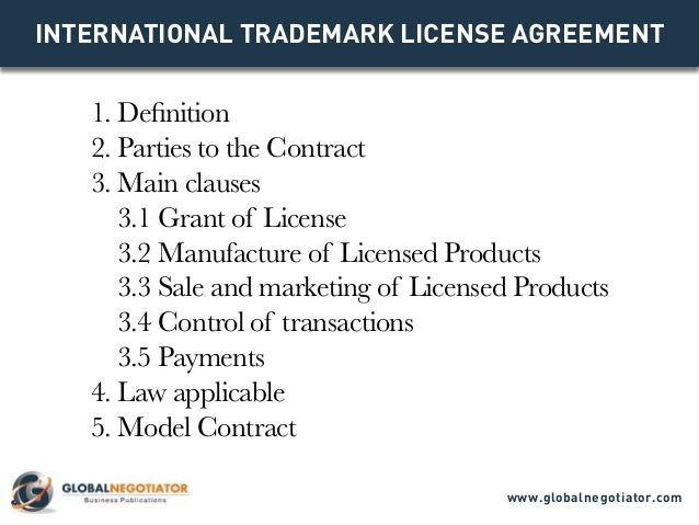 INTERNATIONAL TRADEMARK LICENSE AGREEMENT 1. Definition 2. Parties To The  Contract 3.
