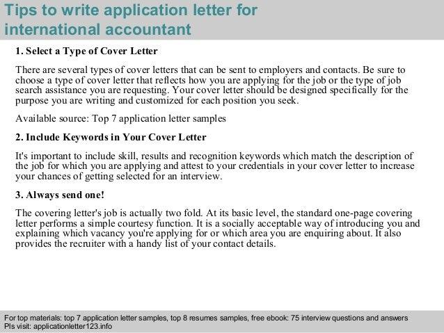 International accountant application letter