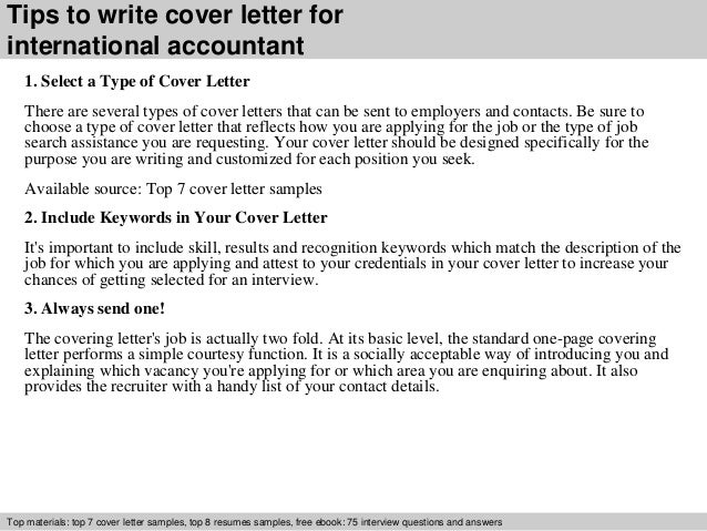 International accountant cover letter