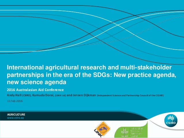 International agricultural research and multi-stakeholder partnerships in the era of the SDGs: New practice agenda, new sc...