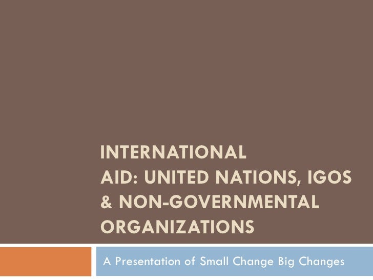 INTERNATIONAL AID: UNITED NATIONS, IGOS & NON-GOVERNMENTAL ORGANIZATIONS A Presentation of Small Change Big Changes