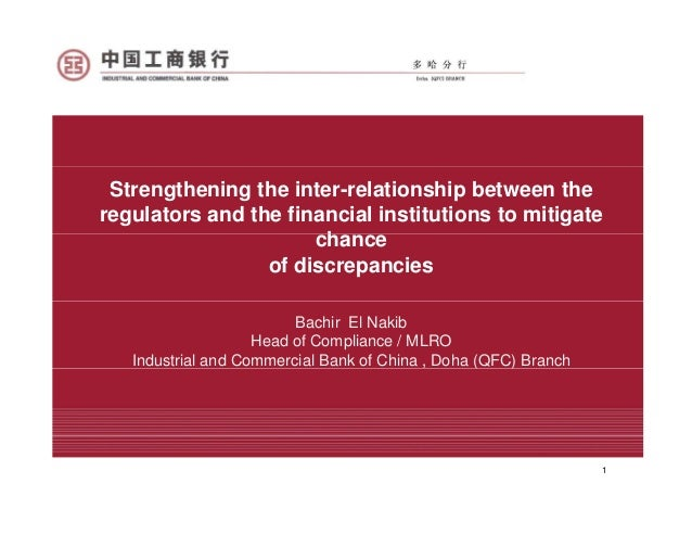 Strengthening the inter-relationship between theregulators and the financial institutions to mitigate                     ...