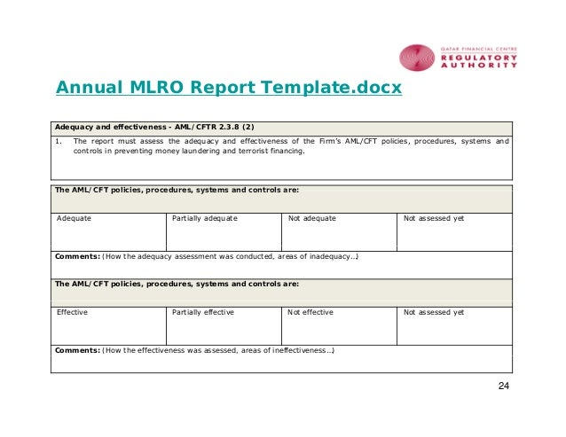 aml reporting template money laundering policy