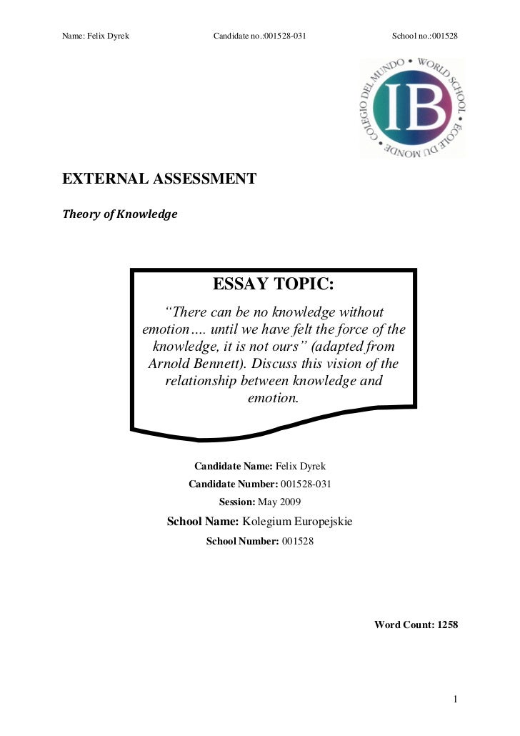International baccalaureate tok essay_there can be no knowledge witho…