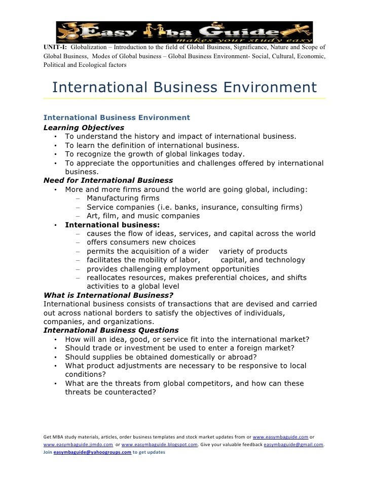 globalization and international business essay example