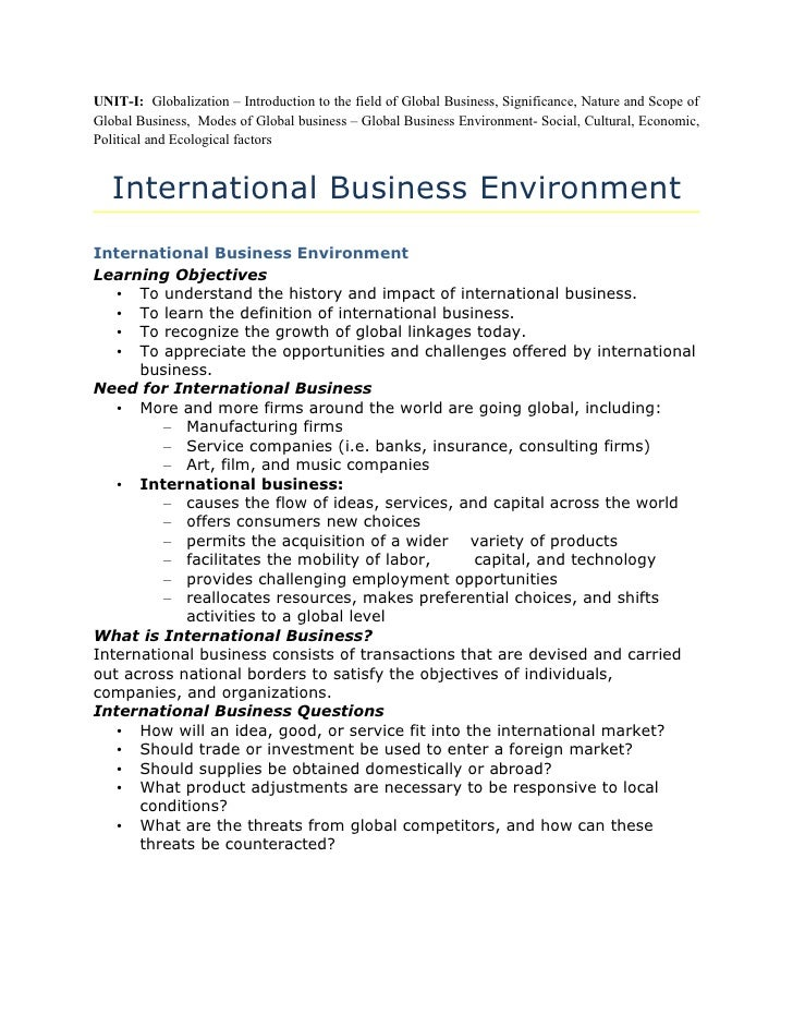 UNIT-I: Globalization – Introduction to the field of Global Business, Significance, Nature and Scope of Global Business, M...