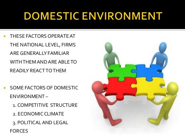 domestic an global business environment Some of the environmental factors affecting global and domestic marketing decisions include: social environment, economic environment, technological environment, competitive environment, cultural environment, political/legal environment, and ethical environment every business organization, whether .