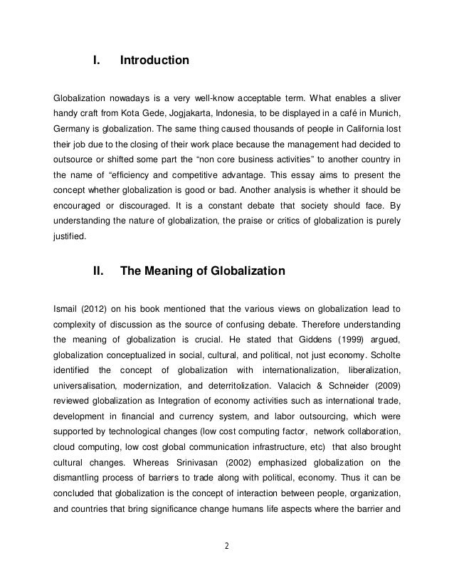 Essay about pros and cons of globalization
