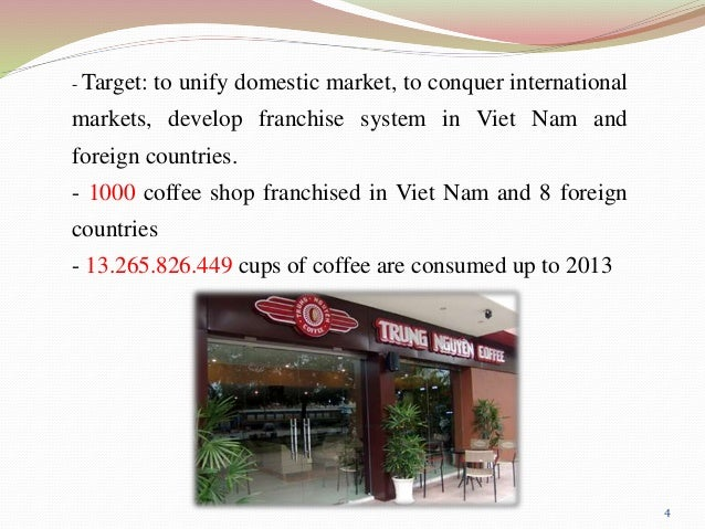 trung nguyen coffee market environment 2018-08-05  trung nguyen corporation  further, the company franchises its coffee shops trung nguyen corporation was  the information and data displayed in this profile are created and managed by s&p global market.